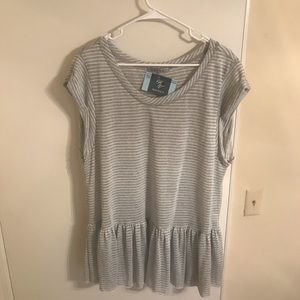 NWT Easel Striped Grey Peplum Top